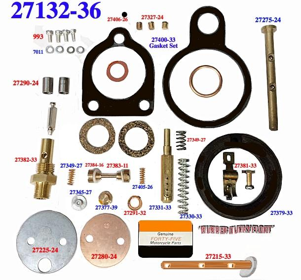 Deluxe Carb rebuild kit 3-bolt 27132-36